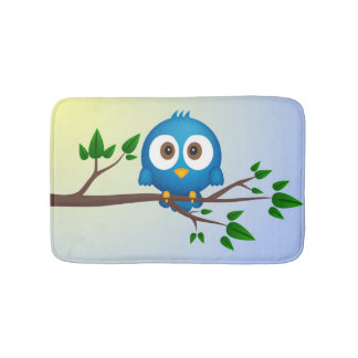 Cute blue twitter bird cartoon bathroom mat