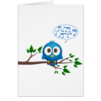 Cute blue twitter bird cartoon card