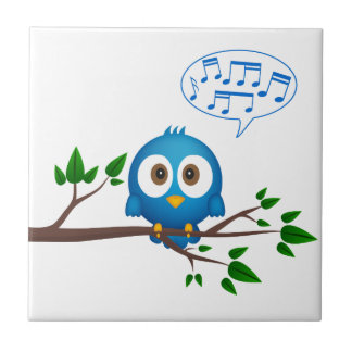 Cute blue twitter bird cartoon ceramic tile
