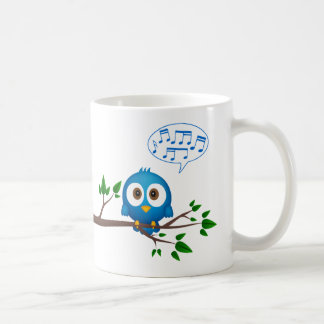 Cute blue twitter bird cartoon coffee mug