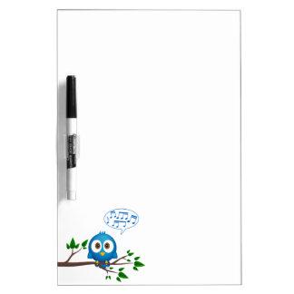 Cute blue twitter bird cartoon dry erase board