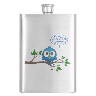 Cute blue twitter bird cartoon flasks