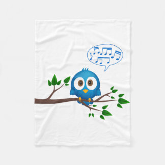 Cute blue twitter bird cartoon fleece blanket
