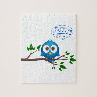 Cute blue twitter bird cartoon jigsaw puzzle
