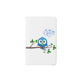 Cute blue twitter bird cartoon pocket moleskine notebook