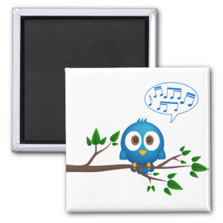 Cute blue twitter bird cartoon square magnet