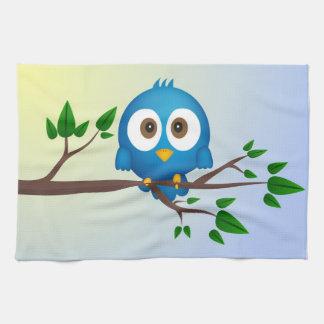 Cute blue twitter bird cartoon towels