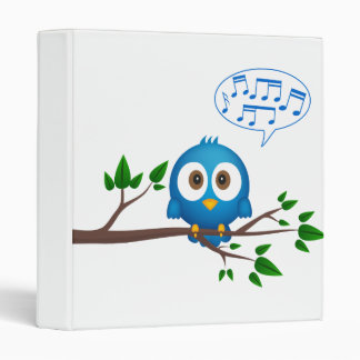 Cute blue twitter bird cartoon vinyl binders