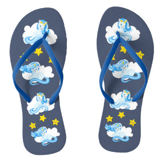 Cute Blue Unicorns and Yellow Stars Flip Flops