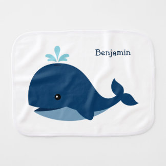 Cute Blue Whale Burp Cloth