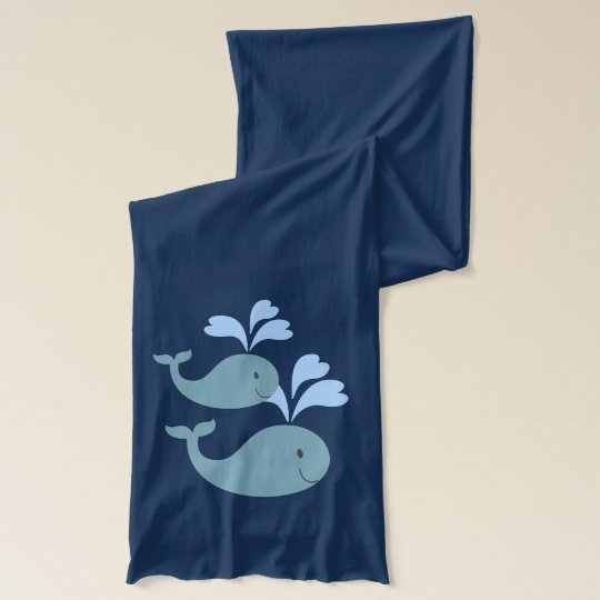 Cute Blue Whales Graphic Images Scarf Wraps