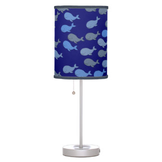 cute blue whales pattern table lamp