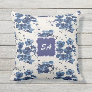 Cute Blue & White Floral Design Monogrammed Pillow
