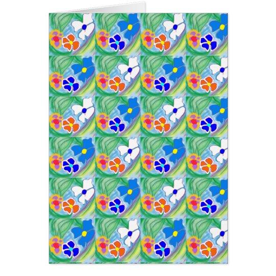 Cute Blue White & Orange Flower Art Greeting Card