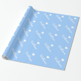 Cute Blue wrapping paper   heart and baby boy name
