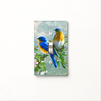 Cute Blue Yellow Birds Cherry Blossom Watercolor Light Switch Cover