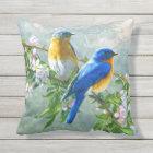Cute Blue Yellow Birds Cherry Blossom Watercolor Outdoor Pillow