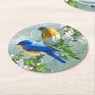 Cute Blue Yellow Birds Cherry Blossom Watercolor Round Paper Coaster
