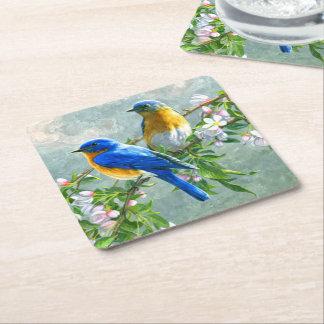 Cute Blue Yellow Birds Cherry Blossom Watercolor Square Paper Coaster