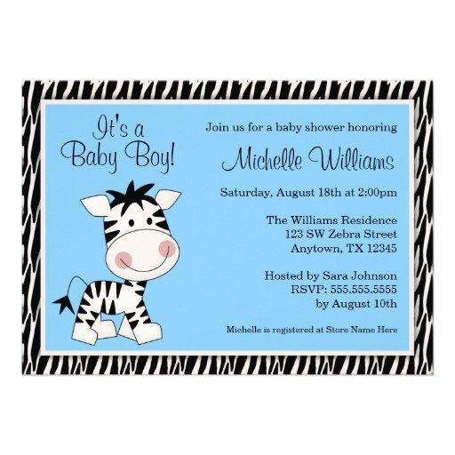 Cute Blue Zebra Boy Baby Shower Invitations Personalized Announcement