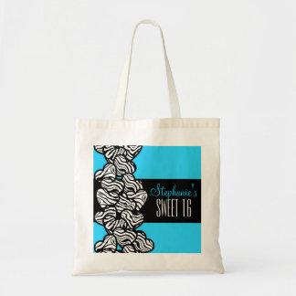 Cute Blue zebra heart Sweet 16 Birthday Tote bag