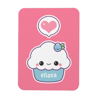 Cute Blueberry Cupcake Magnet