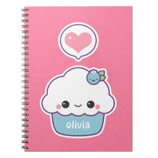 Cute Blueberry Cupcake Notebooks
