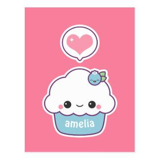Cute Blueberry Cupcake Postcard