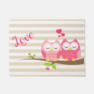 Cute Blush Pink Owls Love Stripe Doormat