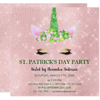 Cute Blush Pink Unicorn St. Patrick's Day Party Card