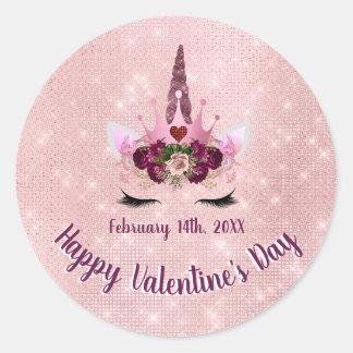 Cute Blush Pink Unicorn Valentine's Day Party Classic Round Sticker