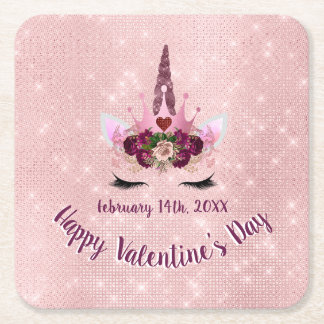 Cute Blush Pink Unicorn Valentine's Day Party Square Paper Coaster