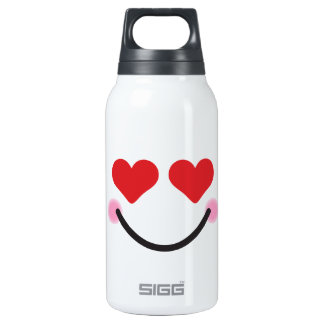Cute blushing heart for eyes emoji insulated water bottle