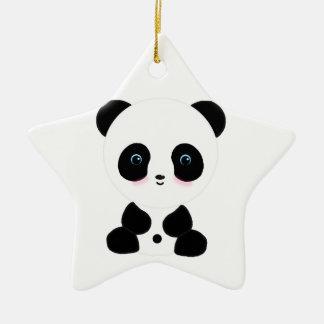 Cute Blushing Panda Bear Ceramic Ornament
