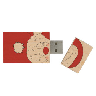 Cute Blushing Santa Wood USB 2.0 Flash Drive