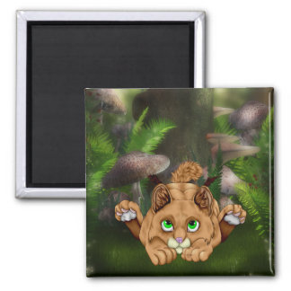 Cute Bobcat Kitten Square Magnet