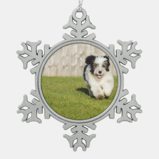 Cute Bobtail Sheepdog Pewter Snowflake Ornament