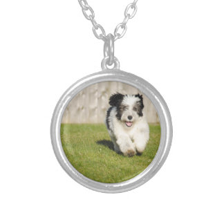 Cute Bobtail Sheepdog Silver Plated Necklace