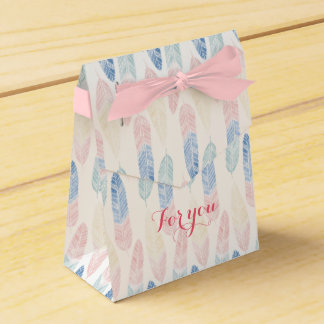 Cute boho pattern pastel colored feathers artsy party favor box