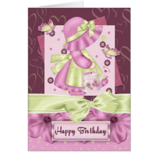 Cute Bonnet Girl Flower And Butterfly Birthday Gre Card