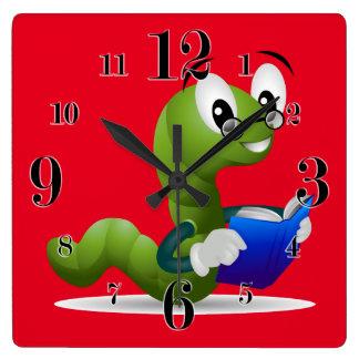 Cute Bookworm Animal Print Children's Square Wall Clock