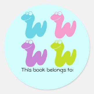 Cute Bookworm Bookplate Quartet Stickers