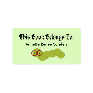 Cute Bookworm Bookplate Stickers For Readers
