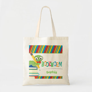 Cute Bookworm Sitting on Books Personalized Tote Bag