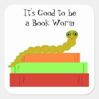Cute Bookworm Square Sticker