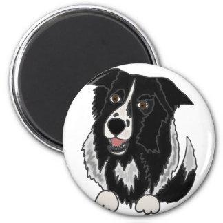 Cute Border Collie Dog Art 2 Inch Round Magnet