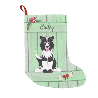 Cute Border Collie Green Wooden Fence Monogram Small Christmas Stocking