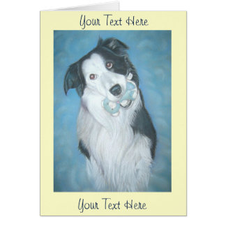 cute border collie teddy dog portrait art design card