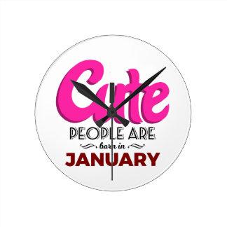 Cute Born In January Babies Birthday Round Clock