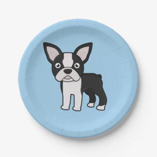 Cute Boston Terrier 7 Inch Paper Plate
